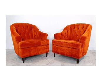Mid Century Modern Pair of Orange Tufted Barrel Club Lounge Chairs