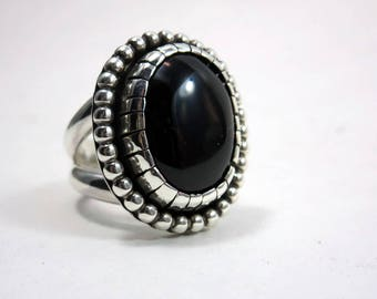 Large, Onyx Cocktail Ring, size 8, Sterling silver, Black gemstone ring, Statement ring, Gypsy Boho Jewelry, unisex ring