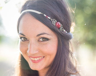 "Marriage headband ""Red love"" pearly and red pearls satin ivory"