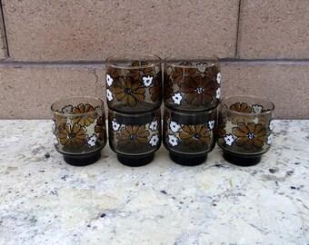 Vintage 6 Libbey Floral Pedestal Brown Juice, Whisky Glasses Glassware Camelia Flowers  Daisies 1970s Barware Retro Bar, Flower Power
