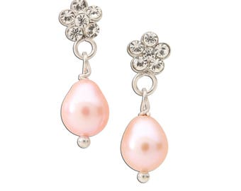 Sterling Silver Daisy with oval Pink Pearl Earrings for Girls (SSE-Daisy w/Oval Pink Pearl)