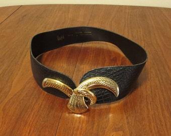 "Vintage 1980s 1990s Magid black leather belt 31"" waist faux snakeskin size medium gold metal buckle (62417)"