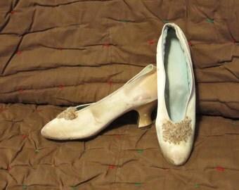 Vintage 1910s high heel shoes pointy toe Cuban heel bridal wedding pink blue gold silk satin glass beads ruffle Colorado Springs (121017)