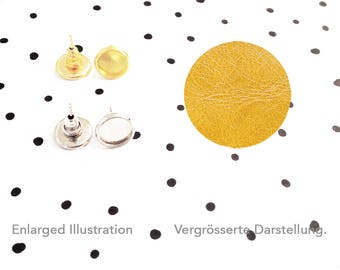 Confetti Ear Studs : Leather Mustard Yellow, Setting Silver Or Gold