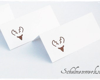 Christmas place card with embossed Moose / reindeer (6 PCs)
