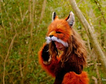Realistic Fox Mask 5 Piece Combo! Costume Set Fluffy Mittens Leg Warmers Sleeve Gloves Perky Tail Fox Ears Partial Fursuit Pet Play BDSM