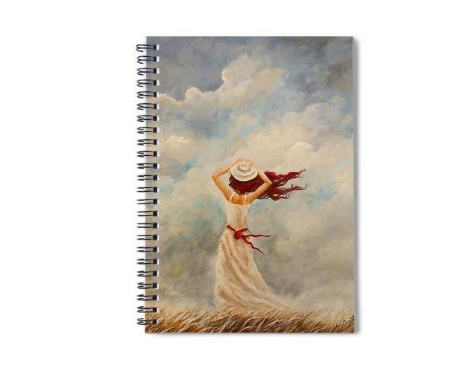 lined spiral writing journal, woman journal, romantic notebook, blank book