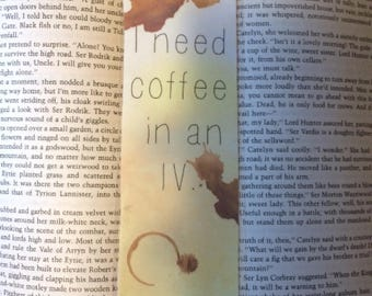 Gilmore Girls Inspired Bookmark| I need coffee in an IV, coffee lovers, Lorelai Gilmore, Rory Gilmore