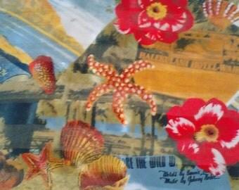 Large Silk Scarf/Hawaii/Tourist/Square/Raw Silk & Satin Silk Stripes through the Print/Hotels/Shells/Hibiscus/lindafrenchgallery