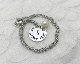 Semicolon necklace, My story isn't over necklace, Personalized necklace, Hand-stamped jewelry, Birthstone necklace, Inspirational necklace