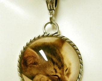 Sleeping tan kitty pendant with chain - CAP26-014