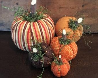 Fabric Pumpkins, Orange Stripe 5