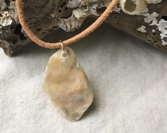 Small beige seashell remnant pendant necklace (glossy)