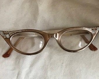 Cats Eye Glasses Etched Aluminum/Victory/1950s 60s/Librarian/Schoolgirl/Hidden Figures/Strangers on a Train/Vintage Eyeglasses