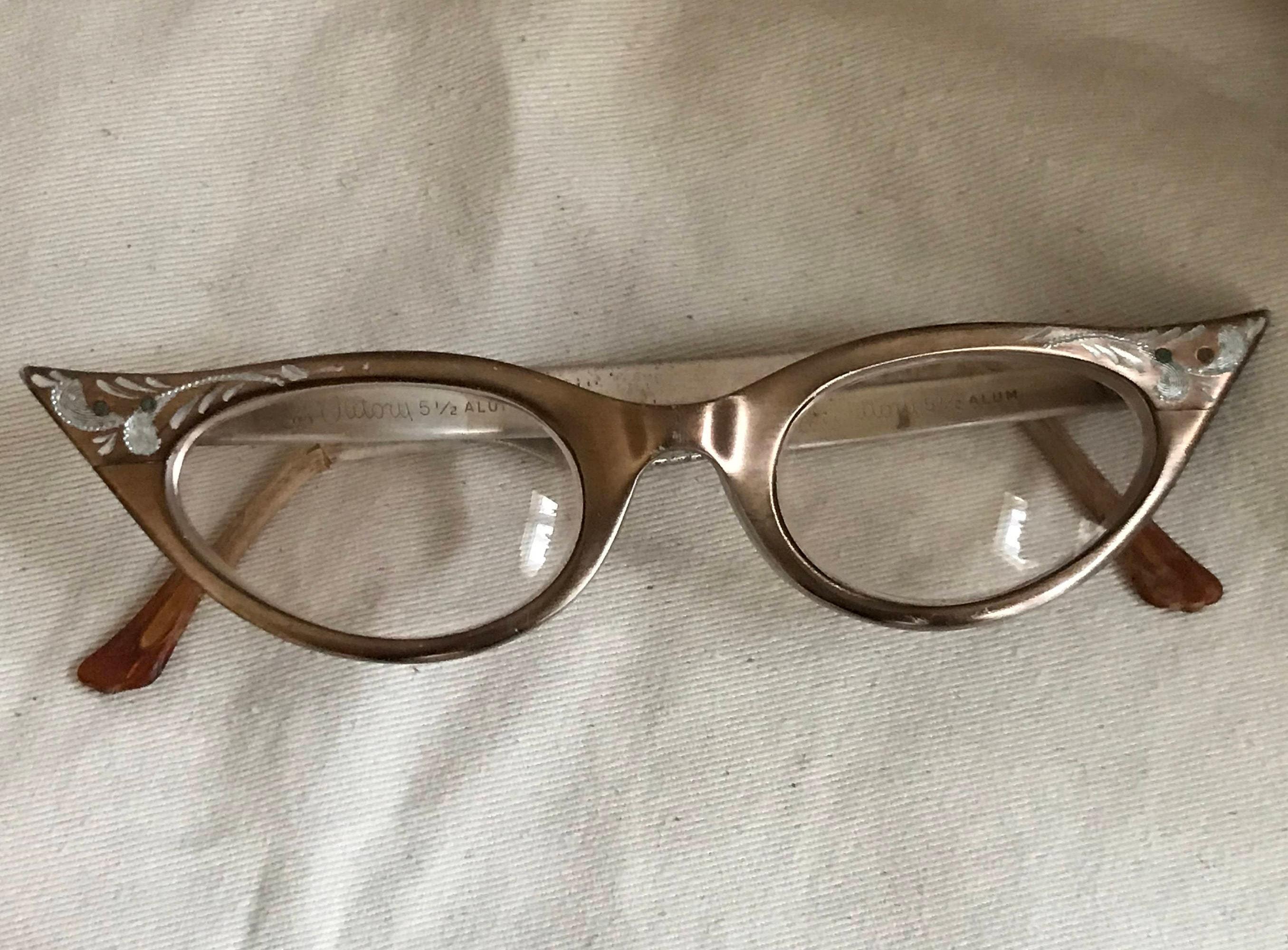 Cats Eye Glasses Etched Aluminum/Victory/1950s 60s/Librarian/Schoolgirl/Hidden Figures/Strangers on a Train/Vintage Eyeglasses