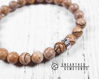 Picture Jasper Bracelet - Picture Jasper Jewelry, Men Bracelet Gift, Women Bracelet, Brown Gift Ideas, Creativity Jewelry
