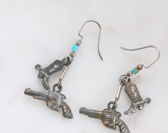 Silver Boot & Piston Gun Earrings - Cowgirl Earrings