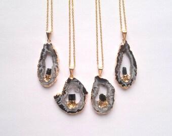 Geode Necklace Two Stone Necklace Druzy Necklace Turmaline Necklace Quartz Jewlelry Double Gemstone Geode Jewelry Gold Edged Geode Occo