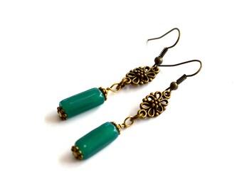 Long Green Earrings, Handmade Earrings, Vintage Earrings, Bohemian Earrings, Boho Earrings, Dangle Earrings, Gift Under 20 Dollar, Gift Idea
