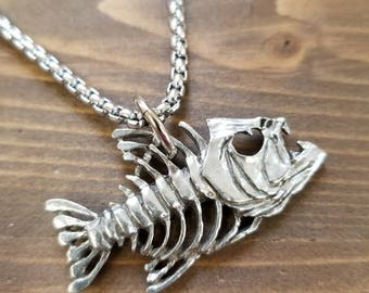 Little D Designs Bone Fish Skull Skeleton Pendant Necklace Stainless Steel Chain Men's Fishing Jewelry USA Free Shipping