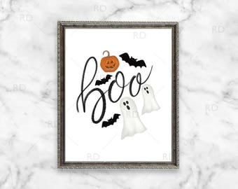 Boo Halloween PRINTABLE wall art / Halloween Wall Print / Ghosts Pumpkins and Bats / Halloween Wall Decor / Halloween Themed Wall Art