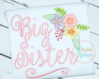 4 SIZES Big Sister Digital Machine Embroidery Design, big sister embroidery, sibling sister embroidery, siblings embroidery, big sis