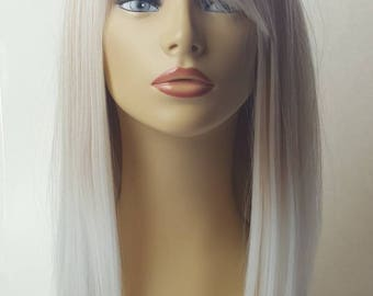 Ombre Light Blonde Wig, Two Tone Mix Color Wig, Ombre Light Blonde Wig with Bangs, Blonde Wig with Bangs, Two Tone Blonde Wig, Blonde Wig