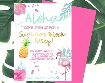Summer Invitation-Printable-Hawaiian Luau-Aloha-party-any age-birthday-DIGITAL FILE-PRINTABLE