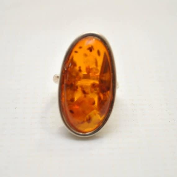 Sterling Silver Honey Amber Adjustable Ring #9297