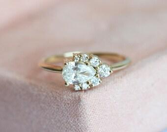Diamond Engagement Ring, Diamond Ring, Engagement Ring, Diamond Cluster Ring, Cluster Engagement Ring, Pear Diamond Ring, Pear Diamond Ring