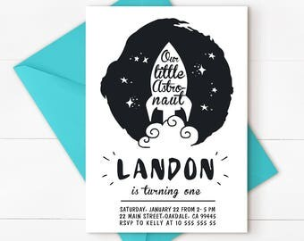 Boys 1st Birthday Invite, Space Birthday, Space Invitation, Space, Space Party, Outer Space Invitation, First Birthday Boy Invitation