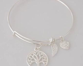 AA0033B Wire Charm Bracelet ~ Family Tree Adjustable Wire Bracelet w Angel Wing & Heart Metal Charms