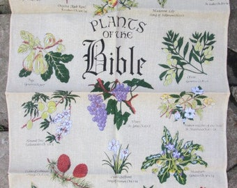 PLANTS of the BIBLE  unused linen cotton tea towel made in Britain by Sherriff Textiles -perfect for framing