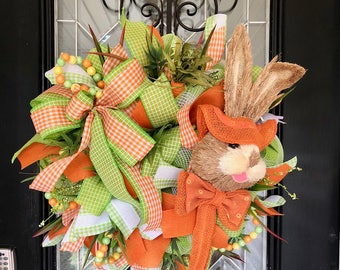 Easter Wreath, Easter Decoration, Bunny Wreath, Front door wreath, Wreath for Door, Door Hanger, Outdoor Wreath