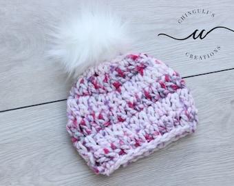 Baby Crochet Hat with Fur Pom Pom Soft Pink Hat Fur Pom Pom Hat