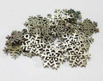Christmas, Lot, Snowflake, Charm, Antique Silver, Pewter, Drop, Finding, Earring, Bracelet, Jewelry, Beading, Supplies