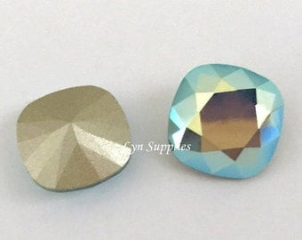 4470 PACIFIC OPAL AB 12mm Swarovski Crystal Fancy Stone Cushion Cut, Rare Aurora Borealis