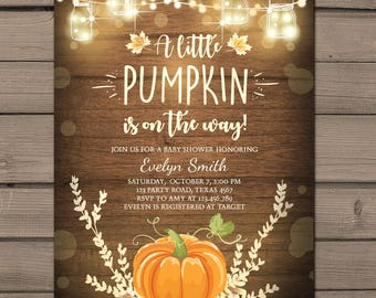 Little Pumpkin Baby Shower Invitation Fall Baby shower invitation Autumn Leaves Pumpkin invite Rustic neutral wood Invite Digital PRINTABLE