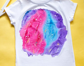 Hand painted Cosmic T-shirt, women white tshirt, Universe t-shirt, Cosmos. SIZE S is ready to ship