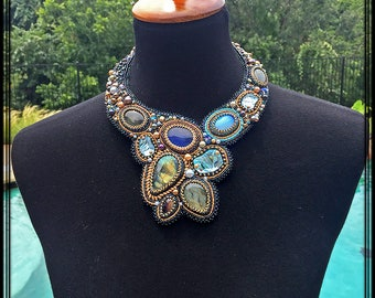 Labradorite and Swarovski crystal seed bead embroidered statement necklace for special occasions