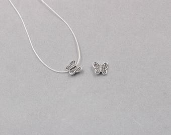 2Pcs 10mm Sterling Silver Butterfly  Beads -- 925 Silver Antique Tibetan Style Charms Wholesale For Bridesmaid Gift Party YX-Y528