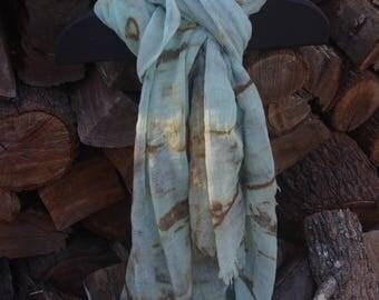 Handmade eco dyed cotton scarf or sarong