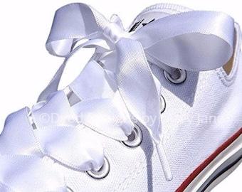 Satin laces, Wedding shoelaces, 7/8 inch satin laces, tennis shoelaces, Satin ribbon shoelaces, Double Faced Satin Ribbon, Dance team laces