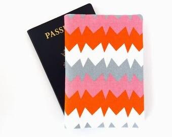 Passport cover, Woman passport holder, Passport wallet for 2, Travel gift for her, Travel accessories, Au Pair gift, Bright, Zigzag, Orange