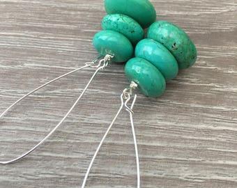 CHUNKY GREEN EARRINGS Green Turquoise Earrings Green Statement Earrings Long Green Earrings Green Gemstone Earrings Green Dangle Earrings