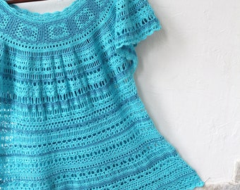 Turquoise Crochet Tunic of Cotton, Summer Tunic, Beach Tunic, Lace Tunic, Lace Top