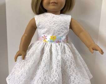 "18 inch Doll Clothes, Pretty ""White LACE with FLOWER Ribbon"" Special Occassion Dress, 18 inch AG Dolls, Great for Wedding Dress-Flower Girl!"