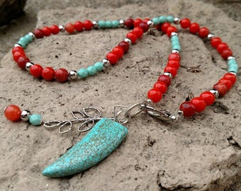 Necklace - Silver Branch with Orange & Turquoise