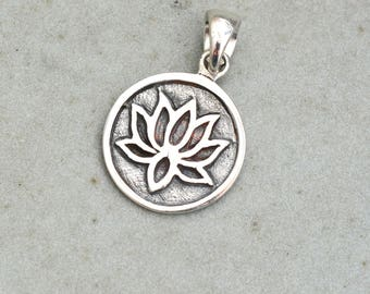 Lotus pendant etsy lotus pendant sterling silver water lily pendant silver lotus flower yoga jewelry audiocablefo light catalogue