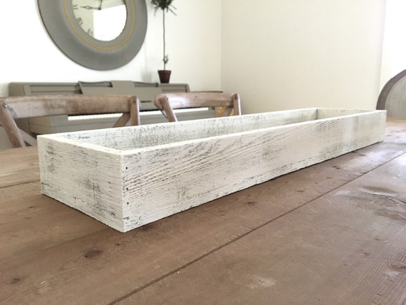 Tray - White Washed l Wooden Long Tray | Long Wooden Box